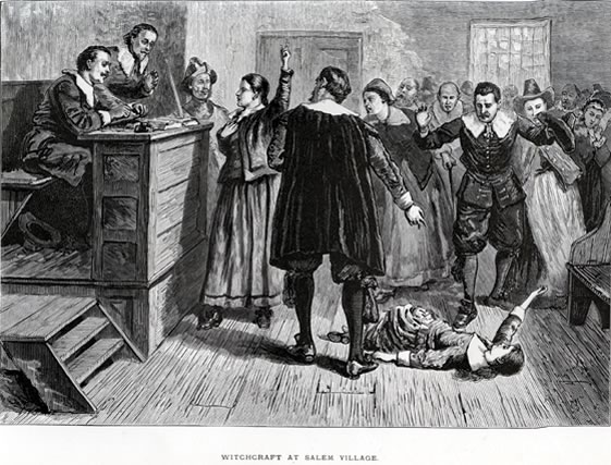 Illustration of a Salem witch trial.