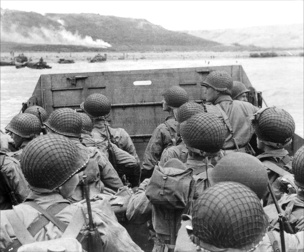 Troops approaching Omaha Beach in a Higgins boat on June 6, 1944. National Archives Image.