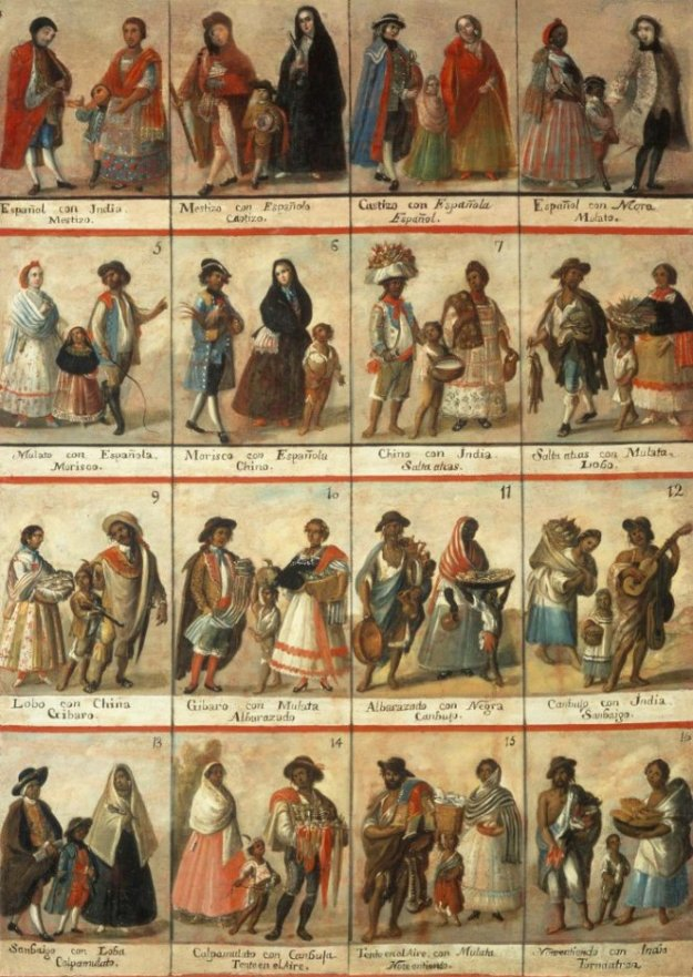 You ever see a Latin American Casta painting? They were used in colonial times to help everyone keep straight in their minds the rigid caste system based meticulously on various shades of racial heritage.