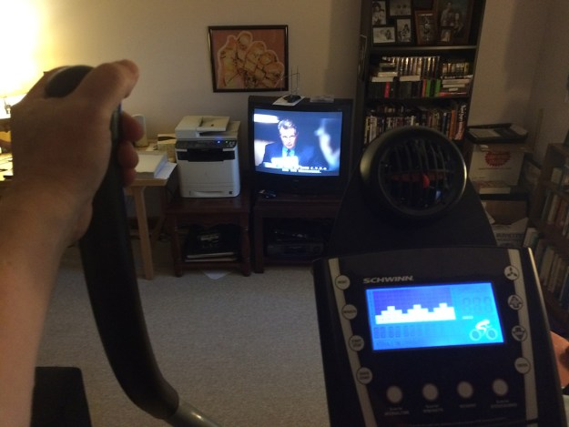 "The view from my elliptical trainer, in my home office (yeah, that's ""The West Wing"" on the tube)."