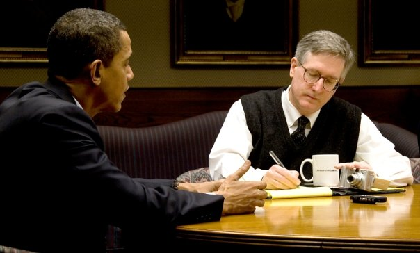 "That's me interviewing Obama on MLK Day 2008 -- taking notes with my right hand, shooting video with my left. With my Initech mug: ""Is This Good for the COMPANY?"""