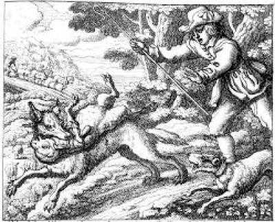 "This is ""the boy who cried wolf."" Not very self-explanatory, is it? Needs word balloons. Sorry. Best I could find."