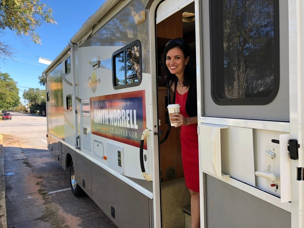 A file photo of Mandy on the first morning we set out on the Leave No One Behind bus, October 2018.