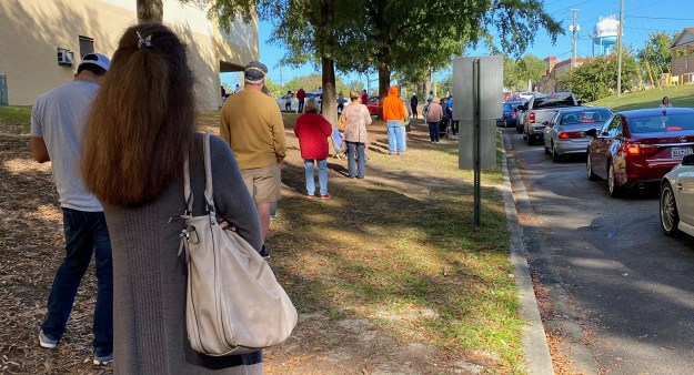 A friend who voted today took this picture while waiting in the queue.