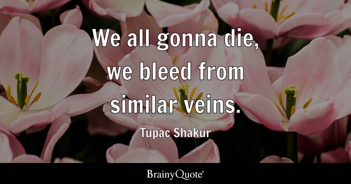 We all gonna die, we bleed from similar veins - Tupac Shakur