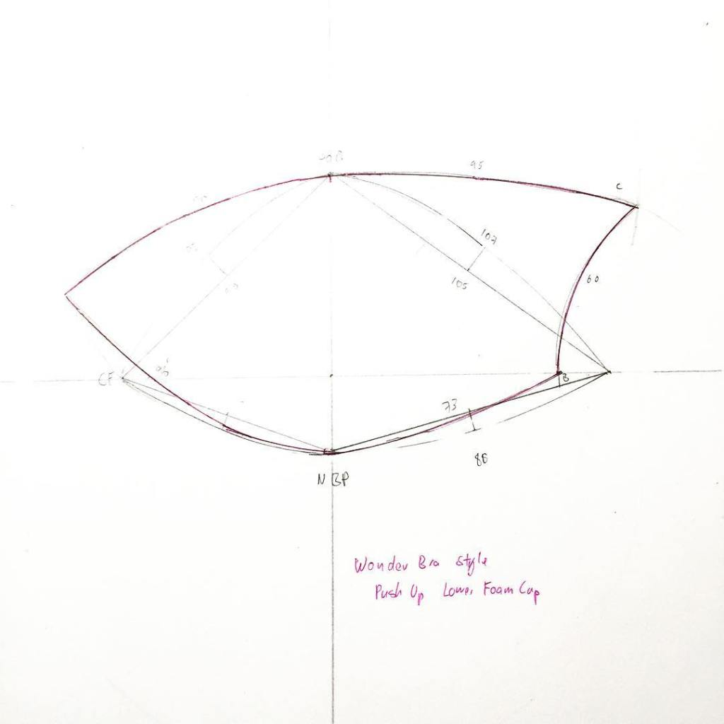The lower foam cup portion of a WonderBra style Push bra draft. Drafted over a 34B lower cup. I erased some of the working lines and retraced the final pattern piece in pink. Just for the photo. I wouldn't normally use pen at this stage.