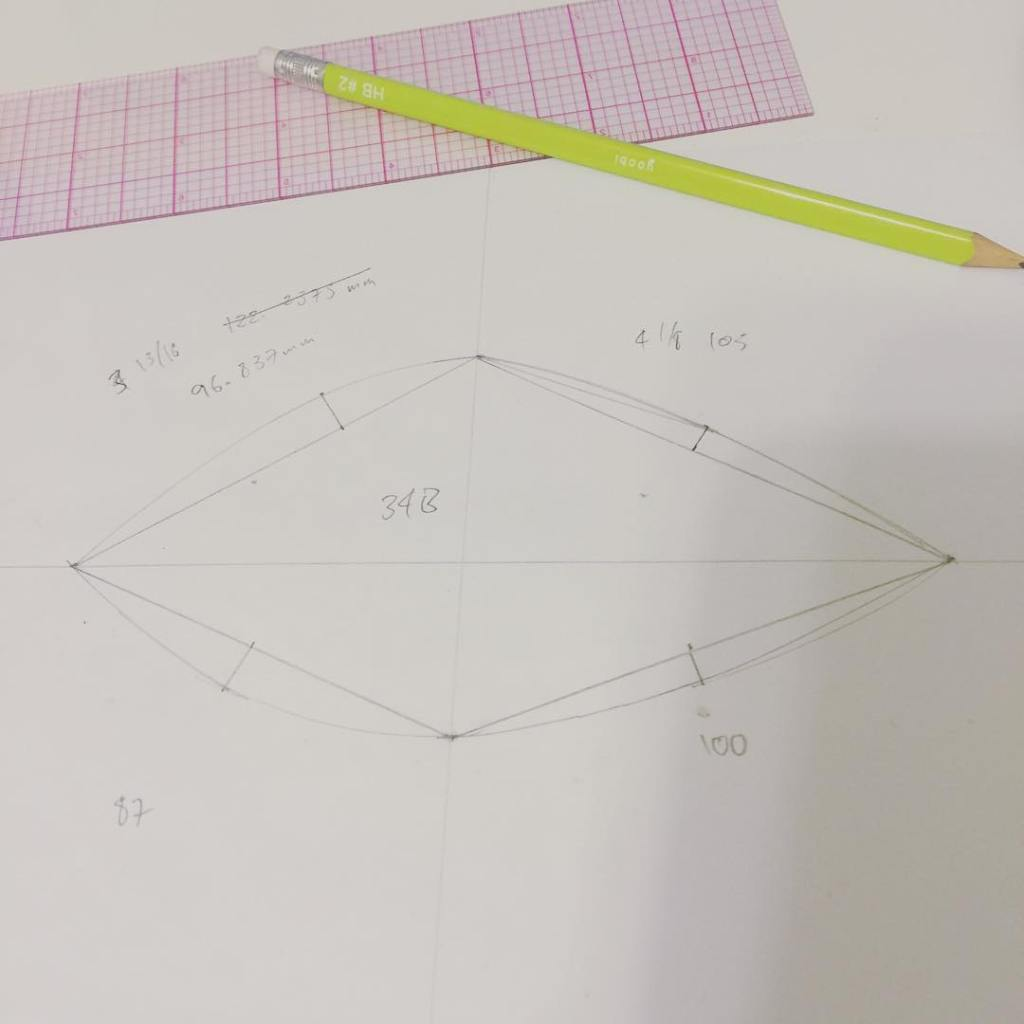 Homework for my core bra cutting and grading class. Unfortunately my flexible ruler is in inches not metric. Need to get a new one tomorrow since converting just to double check basic measurements is a time waster. My flexi curve however is too bendy.