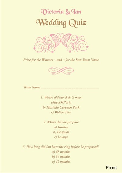 Brambles Wedding Stationery - Wedding Quiz Cards
