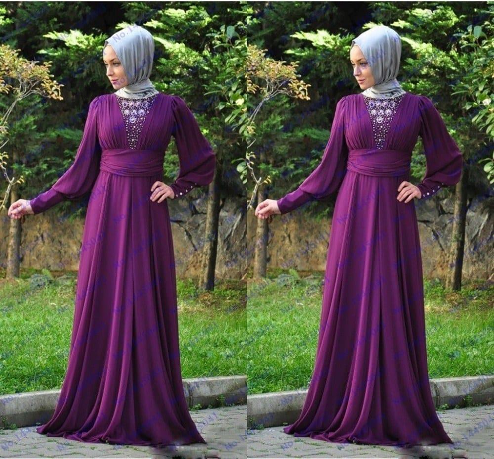 Affordable Friends Veils Hijab Muslim Prom Ideas Couples Prom Ideas Cheap Long Purple Prom Dresses Long Sleeve Beaded Dubai Kaftan Abaya Dress ideas Prom Picture Ideas