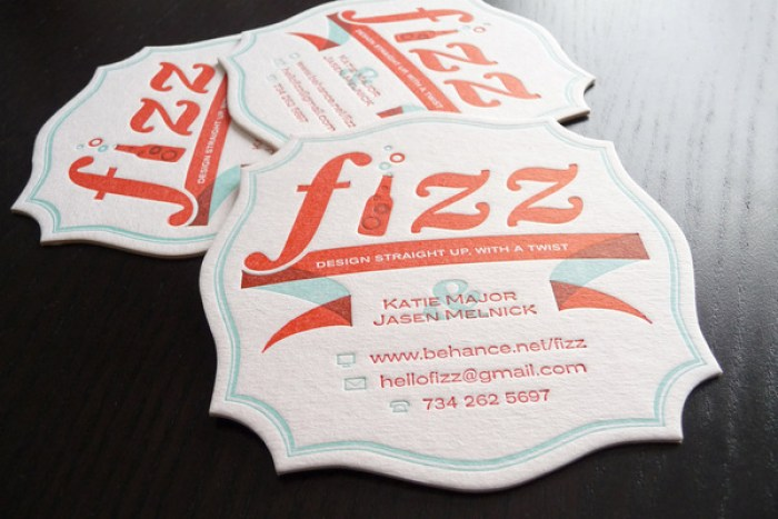 Fizz Business Coasters letterpress card design 01