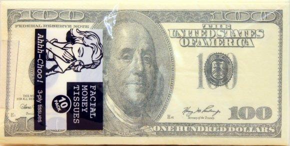 100 Dollar Bill Printed Napkins Tissues