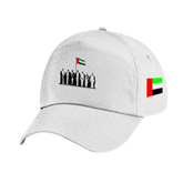 White plain cap printed with UAE flag and Spirit of Union logo