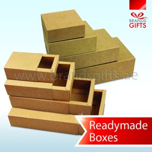 Durable and thick Brown Slider Kraft Boxes in readymade sizes www.brandsgifts.ae