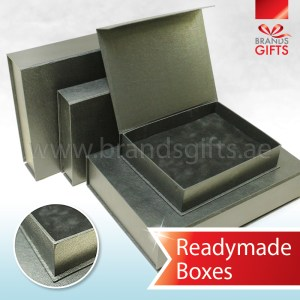 Thick and Durable High Quality Black Leather PVC Boxes Dubai with Velvet base www.brandsgifts.ae