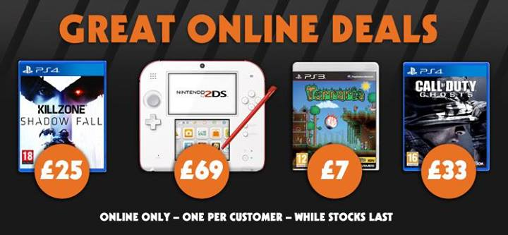 Nintendo 2DS £69 Killzone Shadow Fall £25 COD Ghosts £25 PS4 Great Online Deals1 Nintendo 2DS Only £69 + Cheap PS4 Games