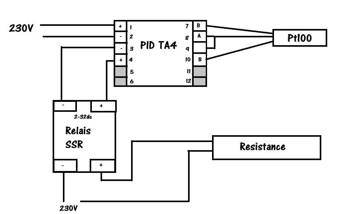 pt100 schema cablage