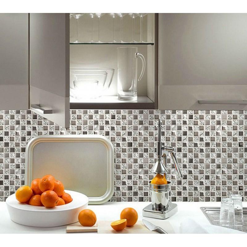 Silver glass tile backsplash ideas bathroom mosaic tiles