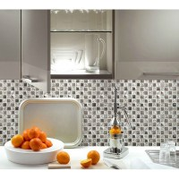 Silver glass tile backsplash ideas bathroom mosaic tiles ...