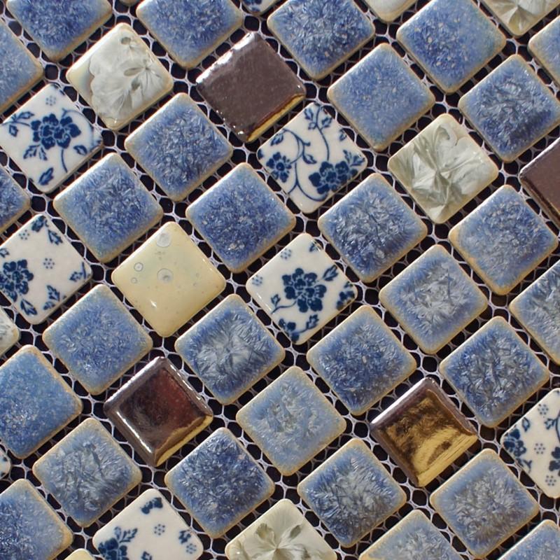 Porcelain Tile Backsplash Kitchen For Walls Blue And White