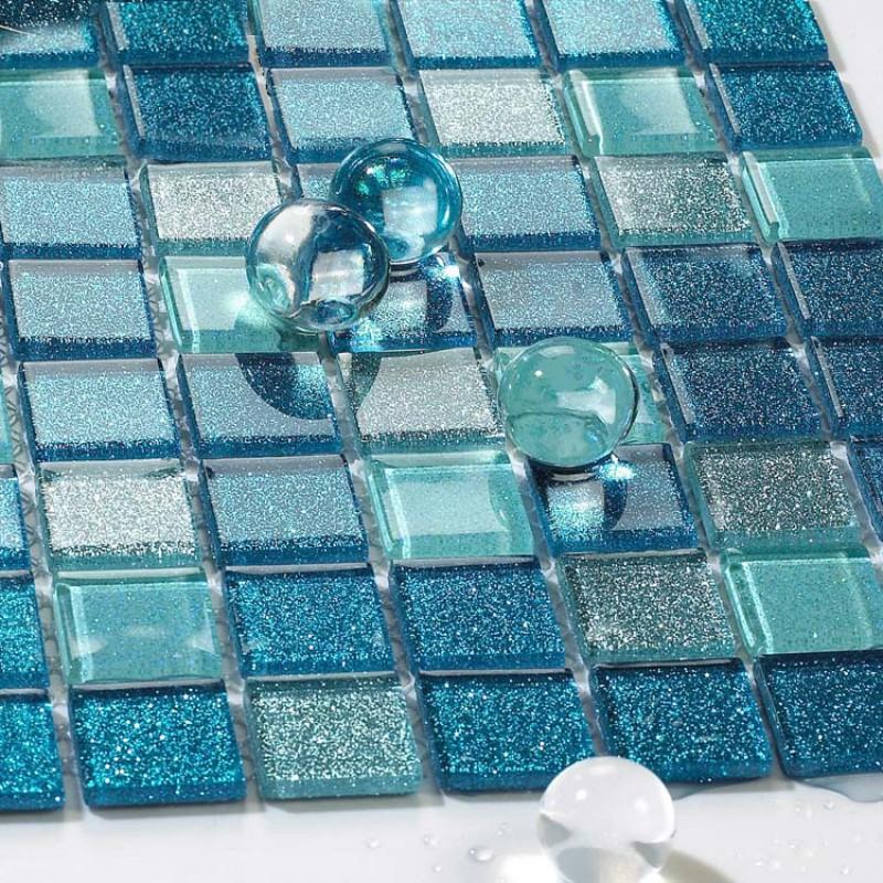 Sea glass tile backsplash ideas bathroom mosaic mirror