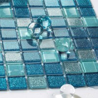 Sea glass tile backsplash ideas bathroom mosaic mirror ...