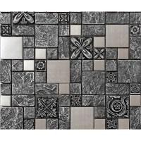 Brushed stainless steel backsplash mosaic tile designs ...