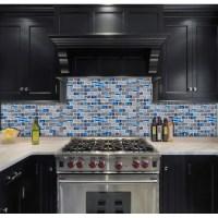 blue glass tile kitchen backsplash subway marble bathroom ...