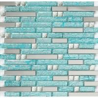 stainless steel backsplash blue glass mosaic tiles kitchen ...