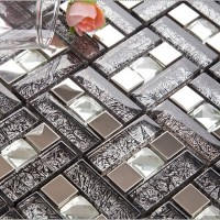 silver 304 stainless steel mosaic tile black crystal glass ...