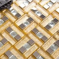 Stainless steel & glass blend metal tile sheets diamond ...
