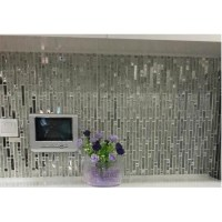 Glass and metal tile backsplash ideas bathroom stainless ...
