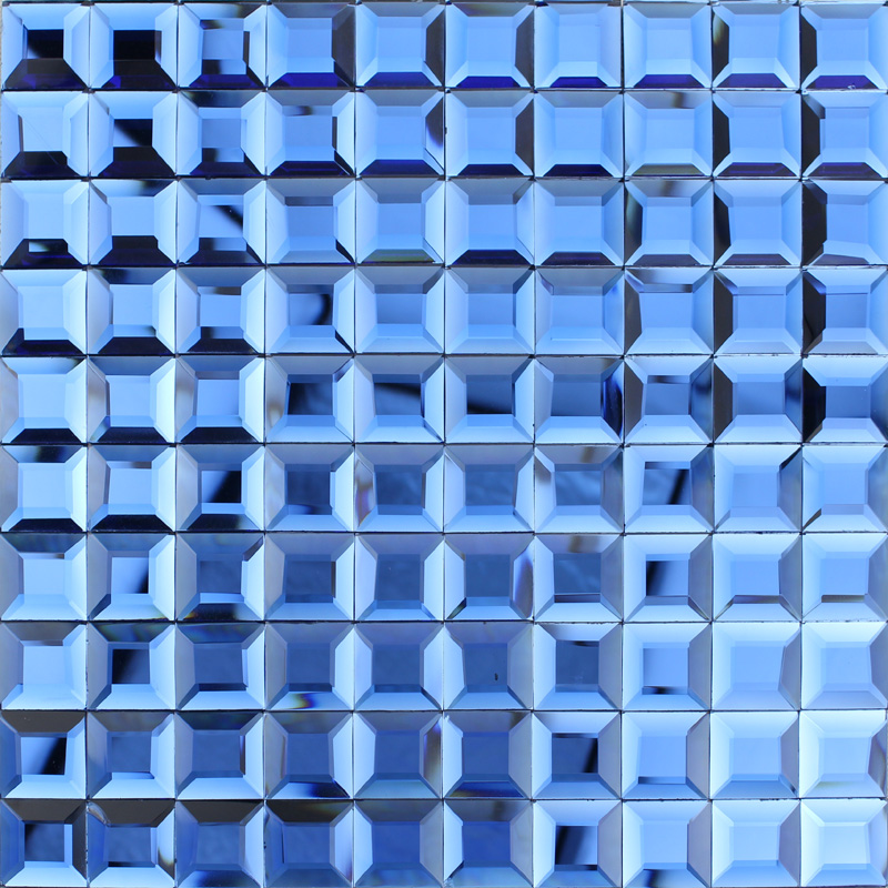 Blue Glass Mosaic Tile Backsplash Pyramid 3d Shower Wall