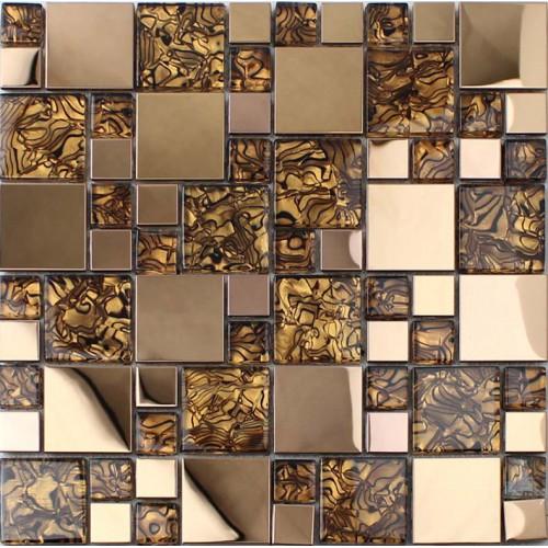 Gold stainless steel backsplash for kitchen and bathroom