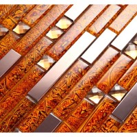 Metal Diamond Glass Tiles For Kitchen Backsplash gold ...