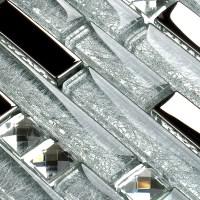 Metal Diamond Glass Tiles For Kitchen Backsplash Silver ...