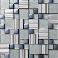 Glass mix Metal Mosaic Tile patterns Metallic Bathroom ...