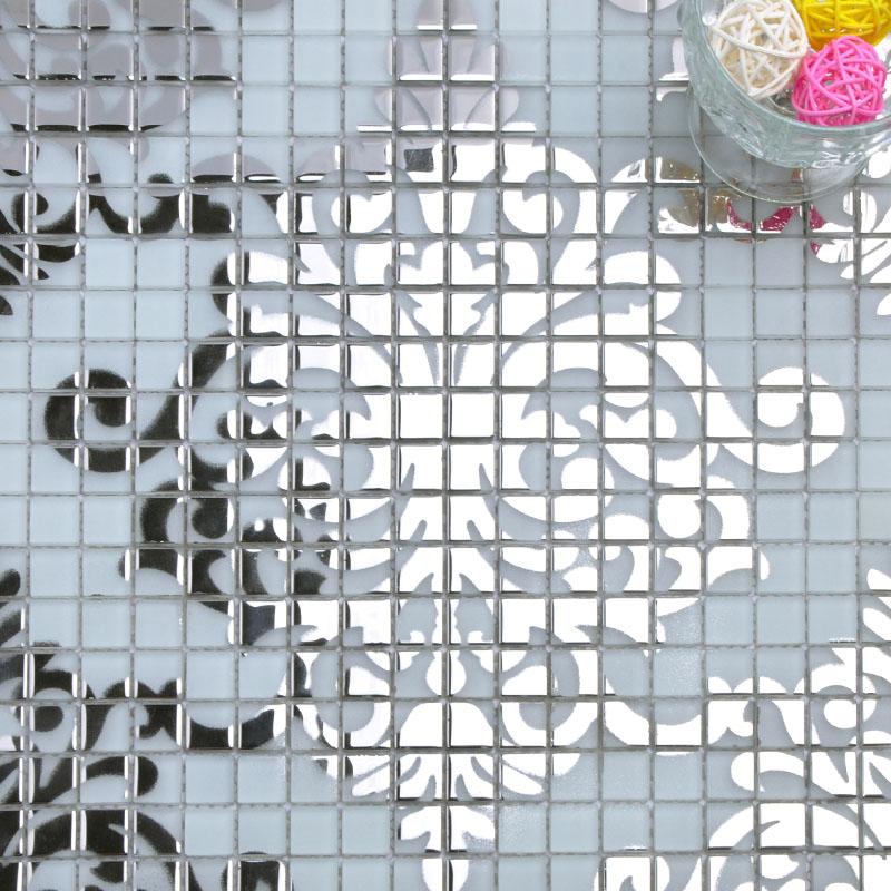 Silver glass mosaic tile wall murals backsplash plated