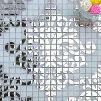Silver glass mosaic tile wall murals backsplash plated ...