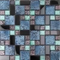 black stainless steel backsplash metal glass mosaic tile ...