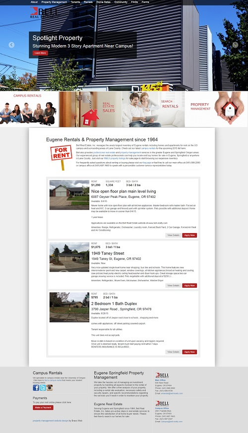 Property Management Website Design Templates, Maintenance and SEO - rental management template
