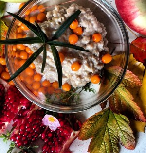 Delicious fall detox foods - oatmeal with sea buckthorn from the backyard| Breakfast Criminals