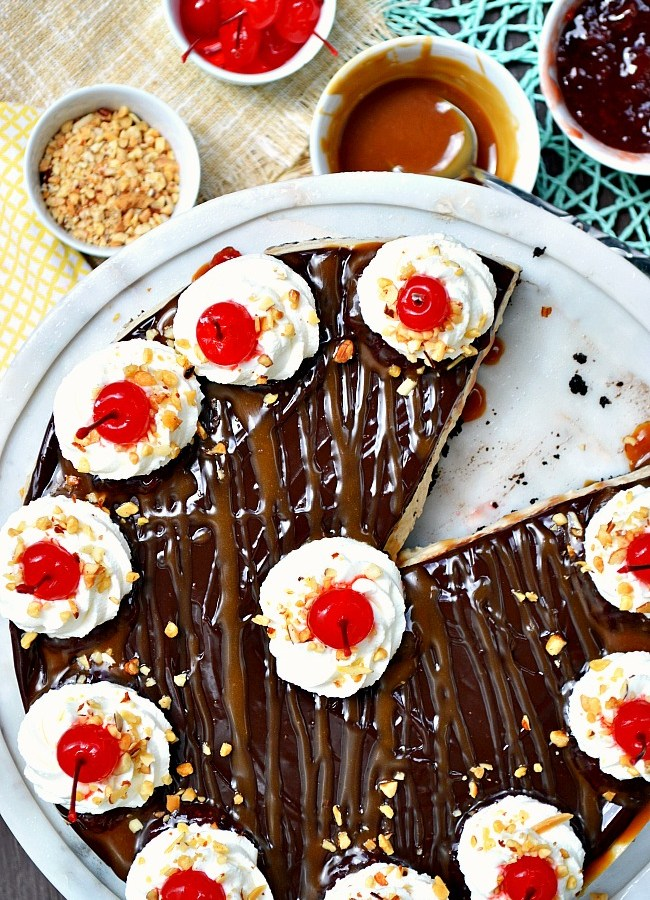 It's party time with this ultimate dessert! Make room for this show stopping Gluten Free Banana Split Cheesecake. There won't be a single slice left in the room.