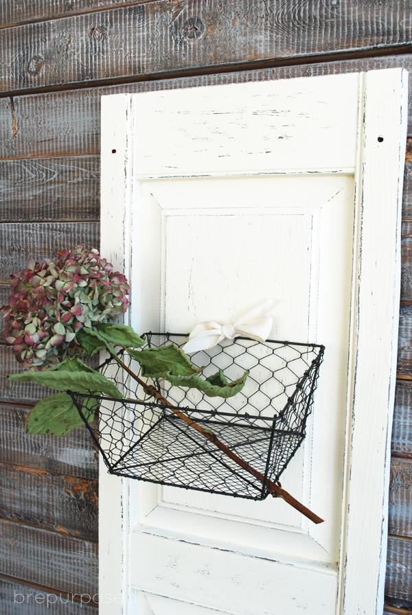 DIY Shutter Door with Basket Storage
