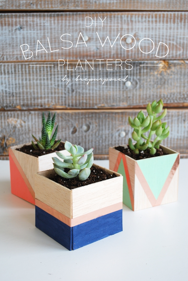 DIY Balsa Wood Planters by Brepurposed