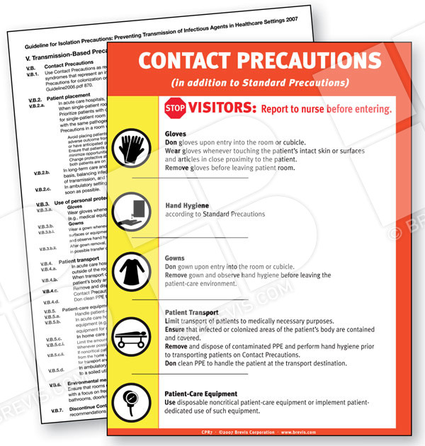 Contact Precautions Sign, English only - Brevis - isolation precautions