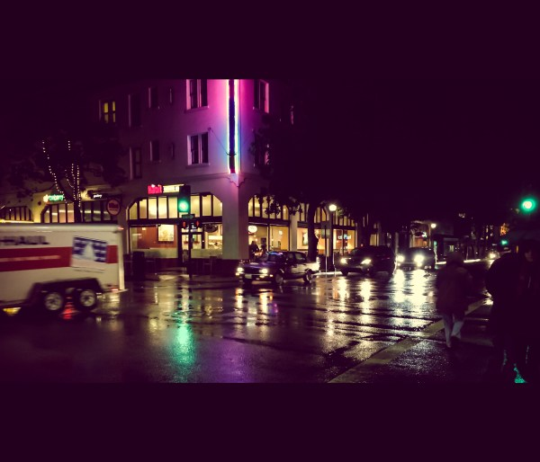 rain-slicked streets of downtown SLO