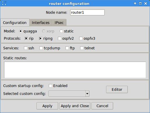 Router configuration widget