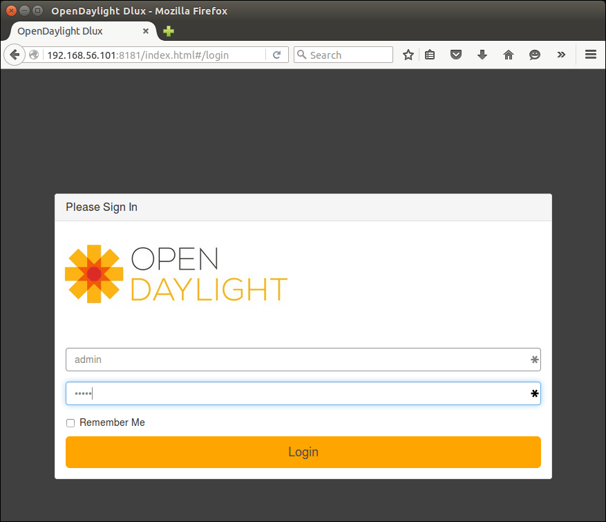 Log in to OpenDaylight controller