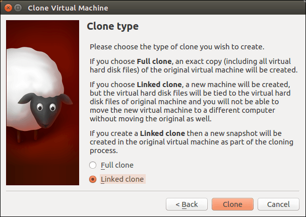 Select linked clone