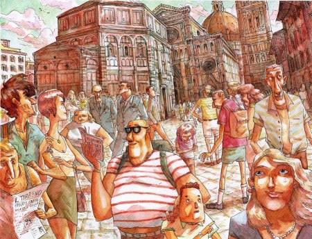 Davide Aurilia Firenze acquerello su carta